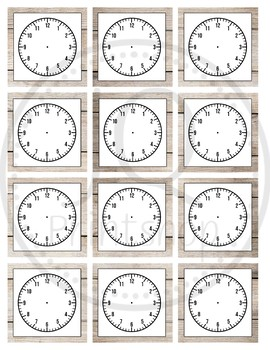 Blank clock face, Wood background