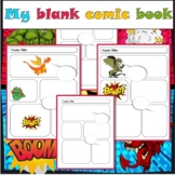 Blank comic paper pages book dragon theme