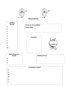 Refrigerator copy blank study guide to send home each week