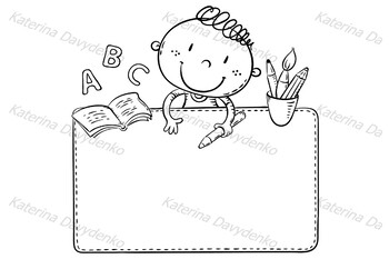 Blank frame with a cute schoolkid and copy space