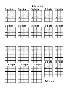 Blank grids for calculation: Partial sums and Subtraction