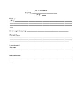 Blank group lesson planner