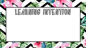 Tropical blank learning intention and success criteria cards
