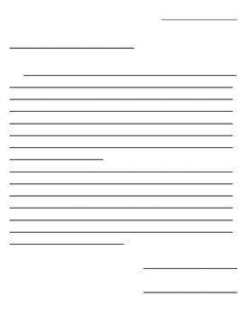 Blank letter set up paper