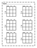 Blank math place value sheet- addition and subtraction