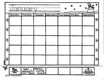 Blank monthly calendars (number practice)