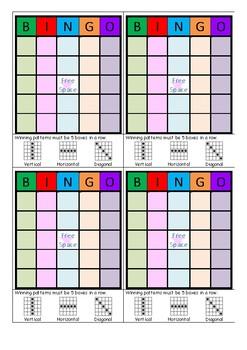 Blank rainbow coloured bingo cards