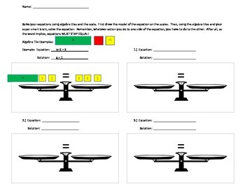 Blank scales worksheet to be used with algebra tiles
