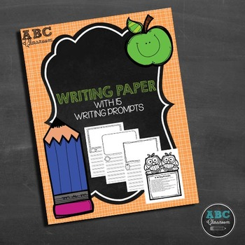 Blank writing paper with illustration boxes and 15 writing prompts