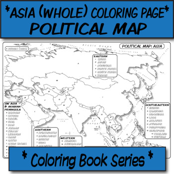 Map Of Asia For Students.Coloring Book Page Asia Political Map