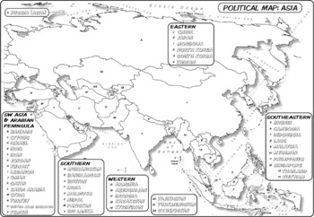 *Coloring Book Page* Asia Political Map