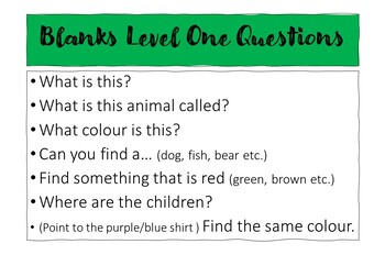 Blanks Level Questions: Brown Bear, Brown Bear