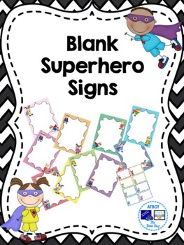 Editable Blank Super Hero Signs