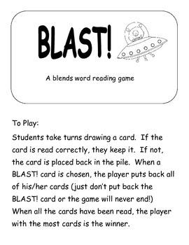 Blast!: A blends word reading game  Printer Friendly version