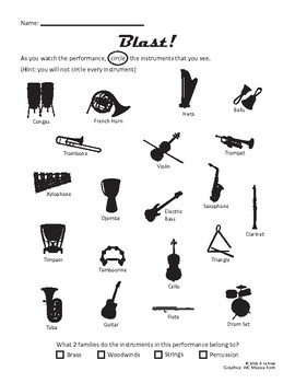 Blast! Drum and Bugle Corps Worksheet