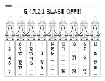 Blast Off! A Number Sequence Worksheet