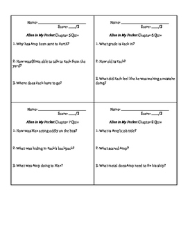 """""""Blast Off! Alien in my Pocket"""" Chapter Comprehension Quizzes"""