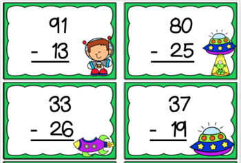Blast Off To Space- An Addition and Subtraction with Regrouping Board Game