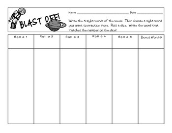 Blast Off!  Sight Word Dice Game