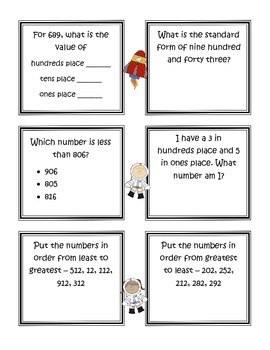 Blast Off With Place Value (3 digit numbers)