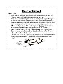 Blast Off quick artic game (rockets, open-ended games, articulation)