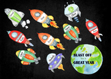 Blast Off to a new year - Wall decoration with editable Name tags