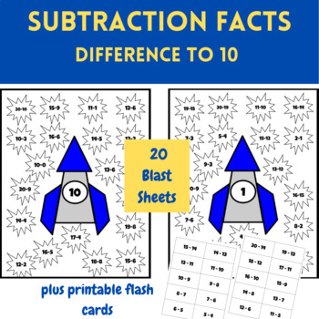 Blast Through Subraction - Subtraction Math Activity Packet Difference to 10