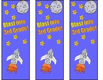 Blast into 3rd Grade Bookmarks