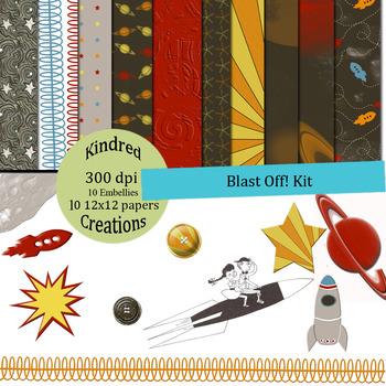 Blast off! Paper and Clip Art Set