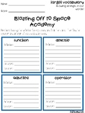 Blasting Off to Space Academy Vocabulary Grids