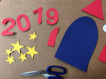 Blasting Off to a New Year Bulletin Board Pattern