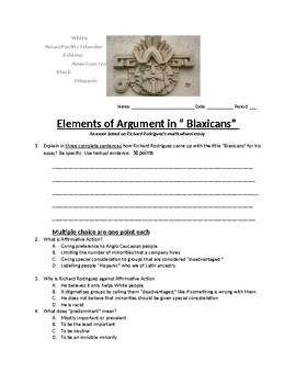 "Elements of Argument in ""Blaxicans"" exam"
