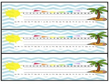 Blazzin' Beach Desk Nameplates with Alphabet and Number Line