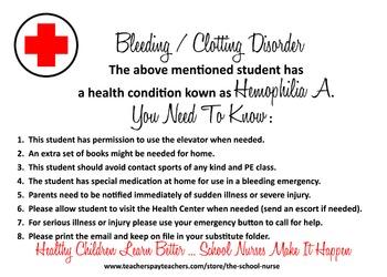 Bleeding / Clotting Disorder - Hemophilia A health informational card JPG