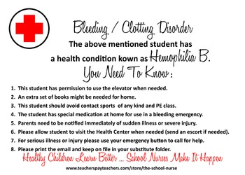 Bleeding / Clotting Disorder - Hemophilia B health informational card JPG