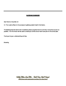 Bleeding Disorder Letter PDF