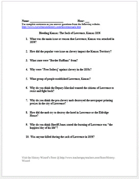 Bleeding Kansas Worksheet: bleeding kansas the sack of lawrence kansas 1856 primary source ,