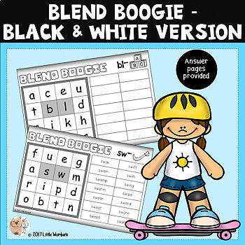 Blend Boogie - Boggle / Onset and Rhyme / Spelling / Word Game - B & W Version