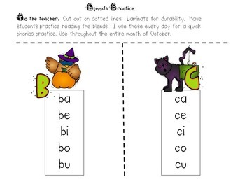 Phonics Blend Cards (October)