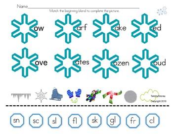 Blend Practice Winter Worksheet