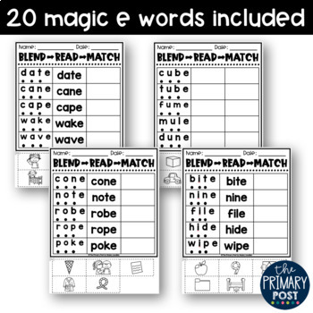 Blend Read and Match Magic E Words