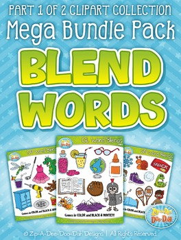Blend Word Sets Clipart Mega Bundle Part 1 {Zip-A-Dee-Doo-Dah Designs}