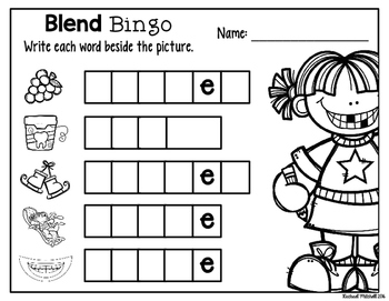 Blends Word Work: Bingo and Sound Boxes (RF.1.2)
