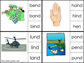 Blend Words with -nd, -st, -nt, and -nk (Clothespin Cards)