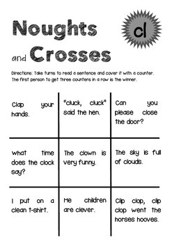 Blend and Digraph Simple Sentence Noughts and Crosses