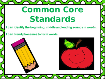 Blend and identify the beginning middle and ending sounds of CVC -at words