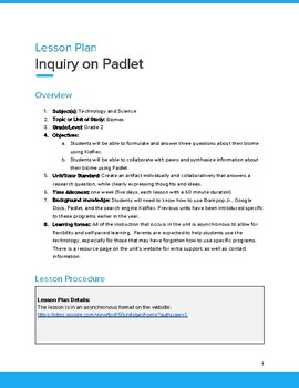 Blended Inquiry Based Research Unit (in depth lesson)