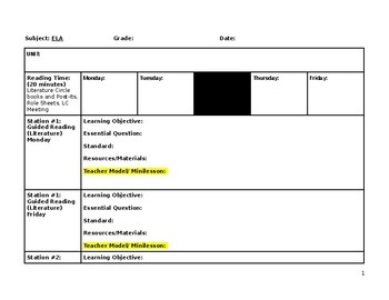 Blended Learning 90-minute Lesson Plan template