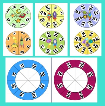 Blending Build A Word Wheels Word Work: Make Up To 63 Sets-CCSS
