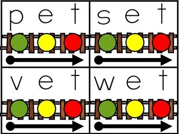 Blending CVC words Train Centers - Blending Words Train Game Cards